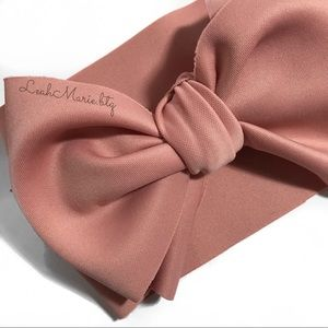 Pink blush nude baby girl big bow headband